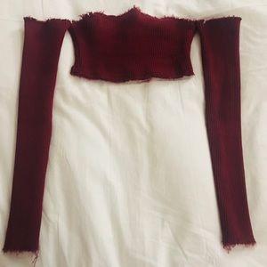 Strapless long sleeve crop top